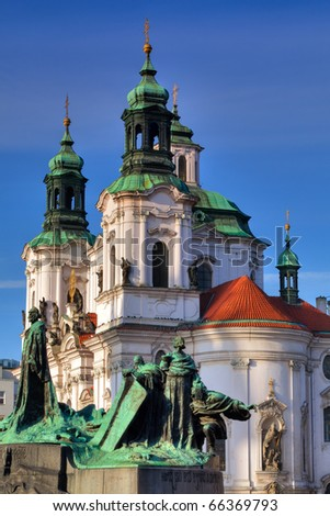 Detail of Baroque St. Nicholas' Cathedral on the Oldtown Square in Prague