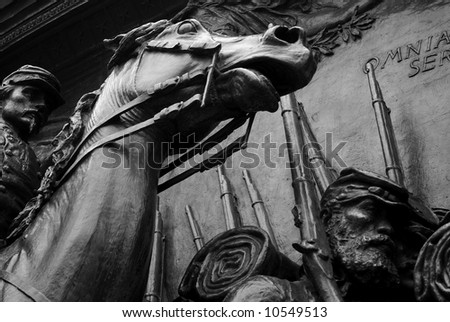 detail of bas-relief statue commemorating the civil war in boston massachusetts