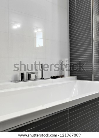 detail of bathtub in a modern bathroom - stock photo