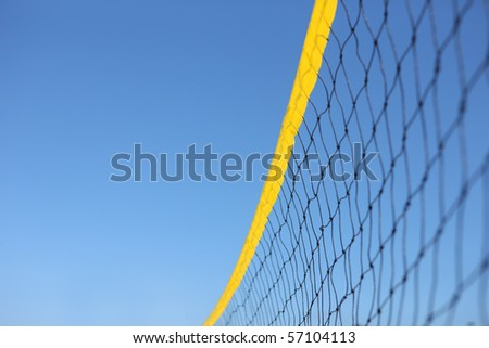 Detail of beach volley net wit a blue sky