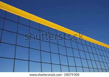 Detail of beach volley net wit a perfect blue sky - stock photo