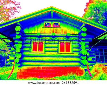 Detail of beams in cabin wall. Traditional construction of timber house in  thermography scan. - stock photo