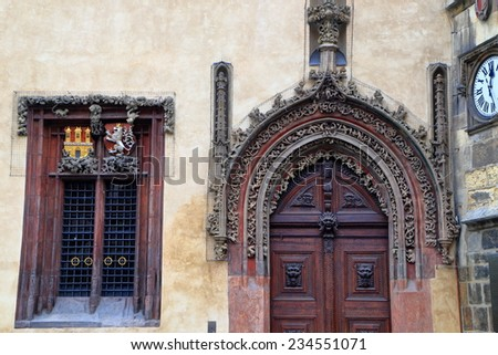 Detail of beautiful decorations on the facade of old building, Prague Old Town, Czech Republic - stock photo