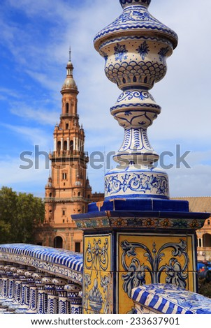 Detail of beautiful ornate bridge decorated with ceramic tiles in the historical Plaza de Espana or Spanish Square. Seville, Spain. - stock photo