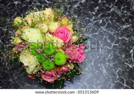 Detail of beautiful wedding flower. White and pink roses. - stock photo