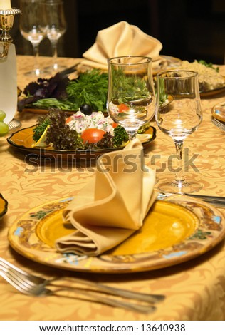detail of beautifully served dinner table in a restaurant - stock photo