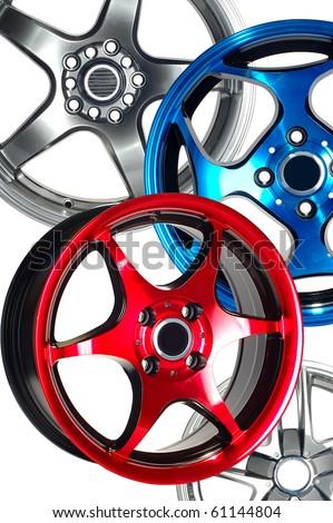 Detail of beauty design of Sport Car Wheel - stock photo