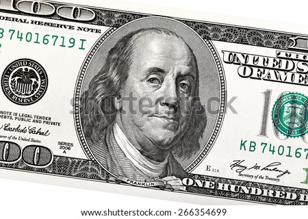 Detail of Ben Franklin on the 100 dollar bill.