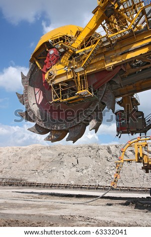 detail of big excavator in coal mine in europe - stock photo