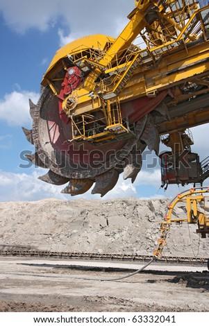 detail of big excavator in coal mine in europe - stock photo