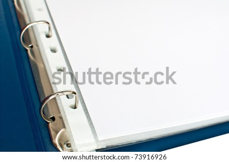 Detail of Blue Open File Folder With Blank Papers - stock photo