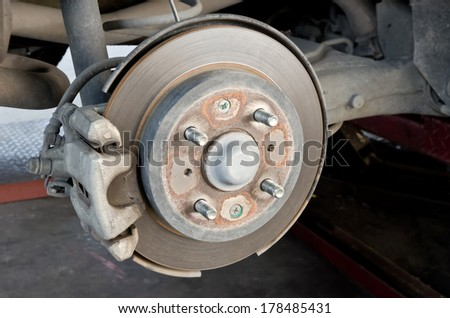 Detail of brake disk and the wheel assembly .