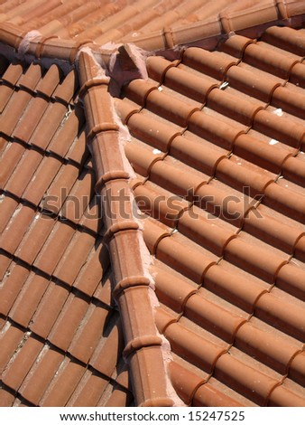 detail of brick tiled roof - stock photo