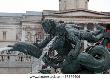 Detail of bronze Fountain in Trafalgar Square. London. UK. - stock photo