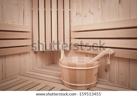 Detail of bucket  in a sauna  - stock photo