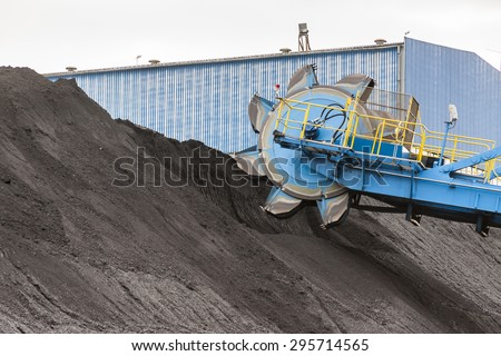 Detail of bucket wheel excavator - stock photo