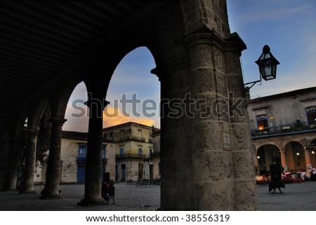 Detail of building columns against Old Havana plaza, cuba - stock photo