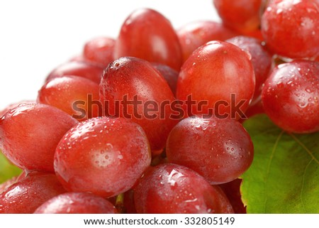 detail of bunch of washed red grapes