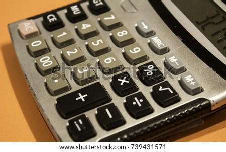 Detail of calculator to control finance, detail of mathematical tool