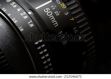 Detail of Camera lens for photography video creativity - stock photo