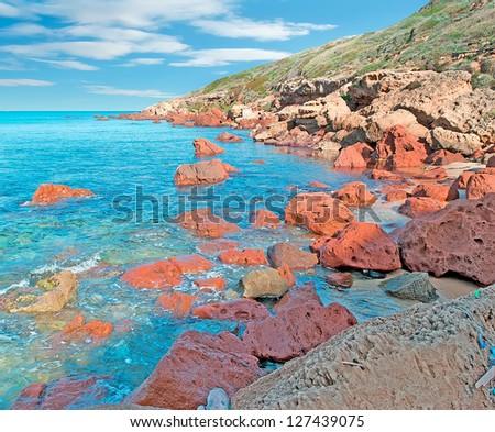 detail of Castelsardo coastline in high dynamic range - stock photo