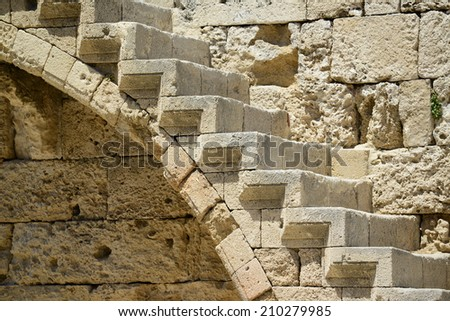 Detail of Castle in Rhodes Greece - The Palace of the Grand Master of the Knights of Rhodes is a medieval castle in the city of Rhodes - stock photo