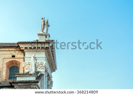 detail of Cathedral facade in Urbino, Italy. The historic center of Urbino is a Unesco World Heritage site and an apex of Renaissance architecture. - stock photo
