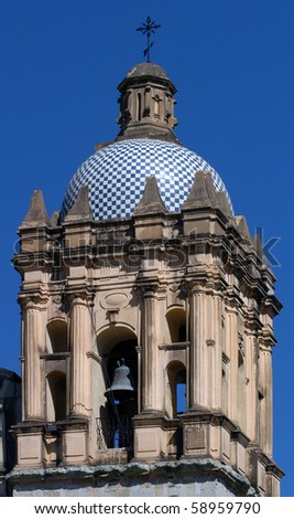 Detail of cathedral in Oaxaca city in Mexico - stock photo