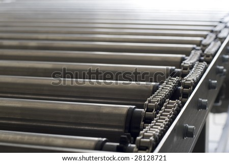 Detail of chain of roller conveyor - Shallow DOF