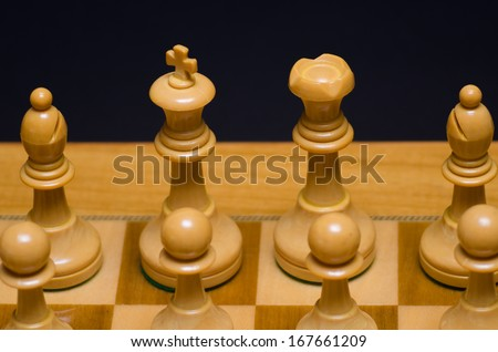 Detail of chess pieces - stock photo