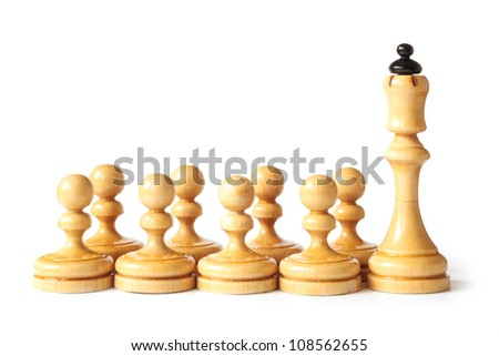 Detail of chess school with queen and pawns isolated on white background