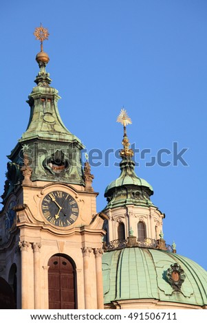 Detail of church spires in Prague