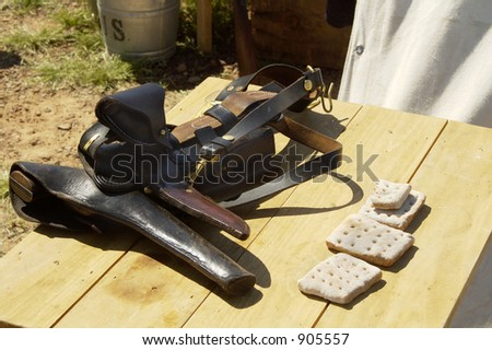 Detail of civil war armament on display in an encampment. - stock photo