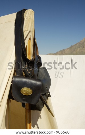 Detail of civil war uniform on display in an encampment. - stock photo