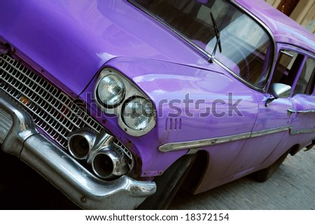 Detail of classic american car in the streets of Old Havana - stock photo