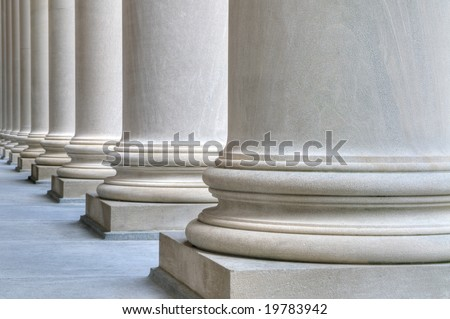 Detail of classic columns in Harvard University - stock photo