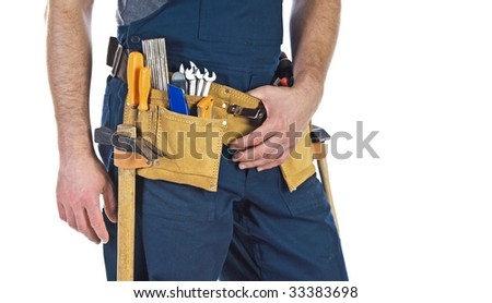 detail of classic leather tool belt wearing by handyman isolated on white background - stock photo