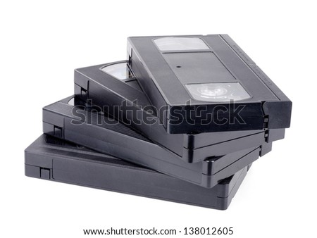 Detail of classic vhs cassette isolated on white. - stock photo