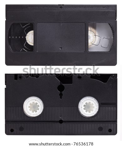 detail of classic vhs cassette isolated on white - stock photo