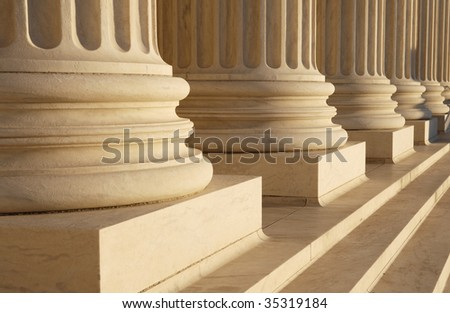 Detail of classical columns at the Supreme Court, Washington, DC. - stock photo