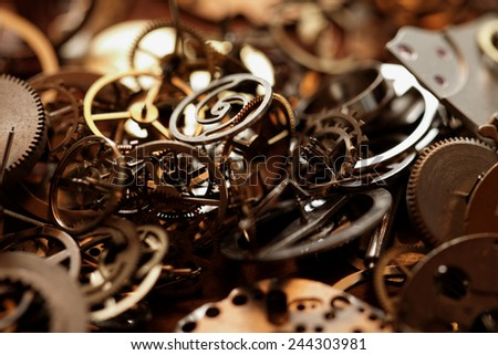 Detail of clock parts for restoration - stock photo