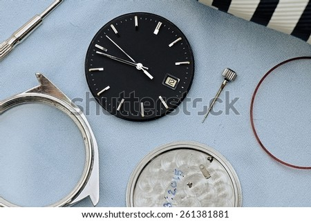 Detail of clock parts for restoration. - stock photo