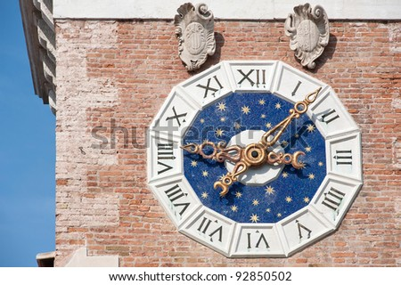 Detail of Clock Tower at the entrance of the Arsenale. Venice, Italy - stock photo