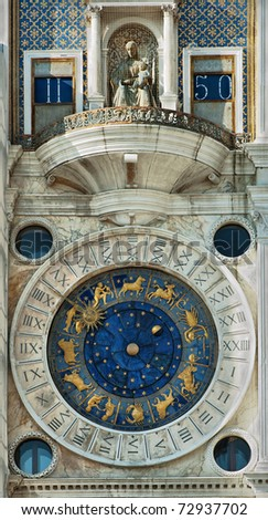 Detail of Clock Tower in St Mark's Square, Venice, Italy