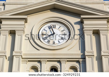 Detail of clock tower of Saint Louis Cathedral in New Orleans, Louisiana.