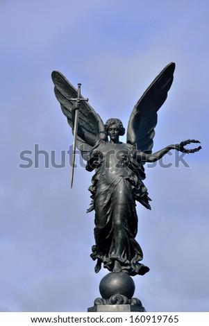 Detail of Colchester War Memorial bronze - stock photo