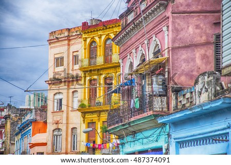 Detail of colorful balconies and buildings in Old Havana, Cuba