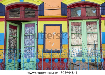 Detail of colorful Caminito architecture in the La Boca neighborhood of Buenos Aires, Argentina - stock photo