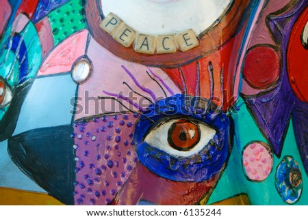 Detail of colorful painted pig on parade in downtown Seattle, Washington - stock photo