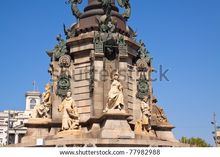 Detail of  Columbus monument in Barcelona. Spain